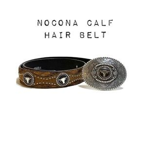 Nocona Western Leather & Calf hair buckle belt